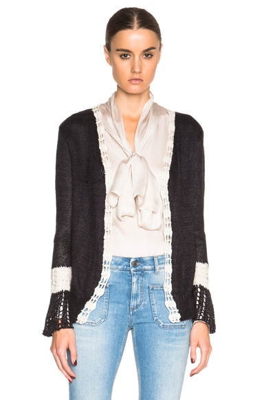 Rodarte Silk Knit Cardigan in Black & White