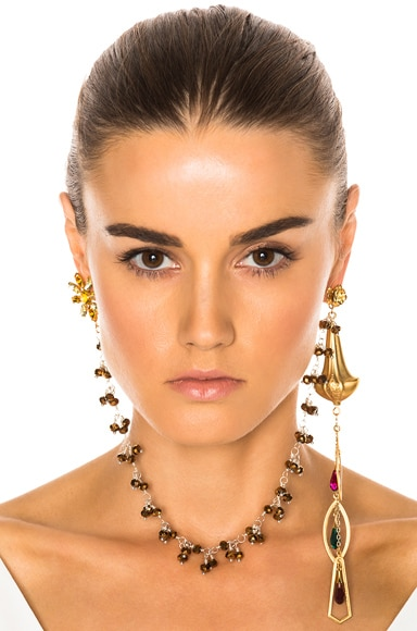 Drop Earring With Flower Stud