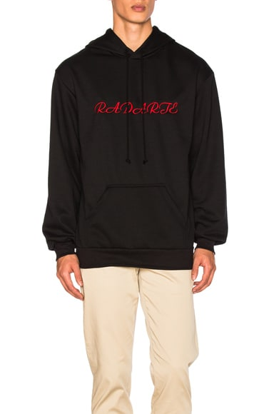 Rodarte LA Embroidery Oversized Hoodie in Black with Red Text