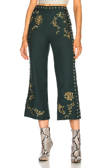 Floral Metallic Embroidery & Studded Detail Pants