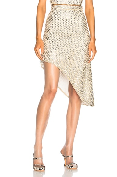 Beaded Asymmetric Hem Skirt