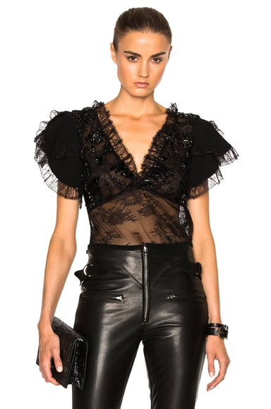 Lace Trim and Laser Cut Detail Blouse