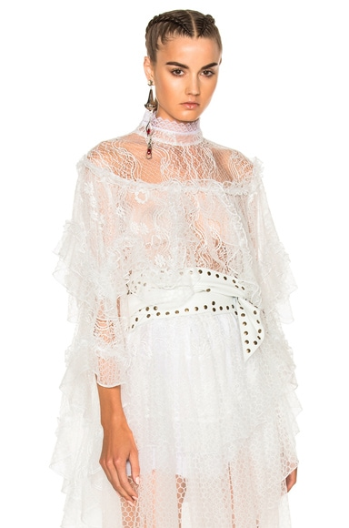 Lace Tiered Ruffle Blouse