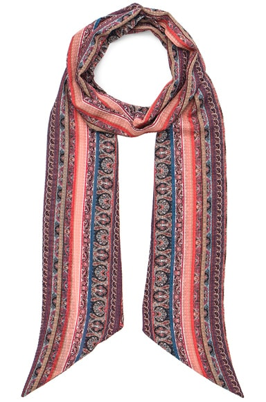 Rodarte Striped Paisley Silk Chiffon Scarf in Multi