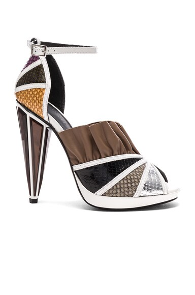 Rodarte Embossed Metallic Leather Strap Heels in White