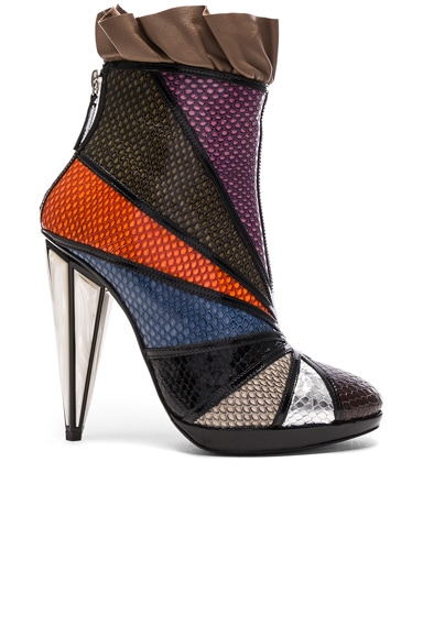 Rodarte Embossed Metallic Leather Ankle Booties in Multi