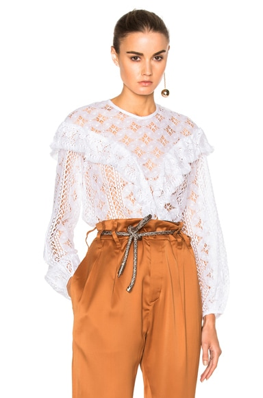 Rodebjer Mikayla Lace Top in White