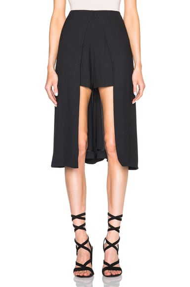Rosetta Getty Crepe Sable Skirt Panel Shorts in Black