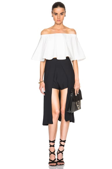 Crepe Sable Skirt Panel Shorts