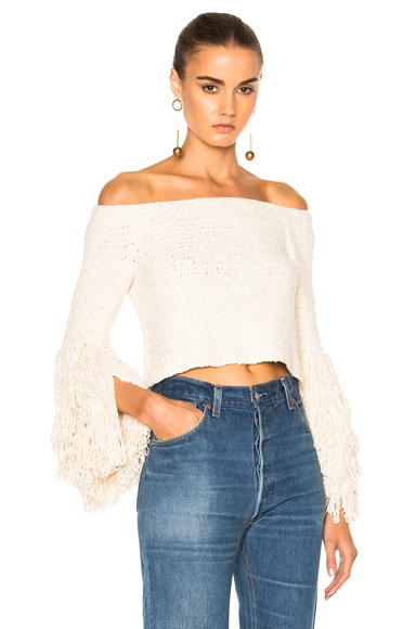 Crocheted Fringe Off the Shoulder Top