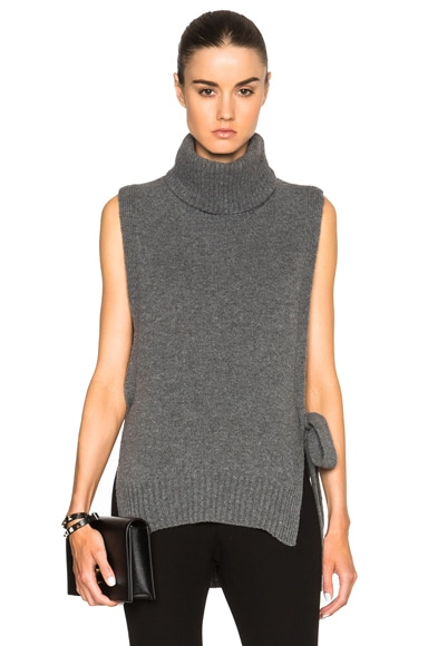 Rosetta Getty Cashmere Turtleneck Poncho in Charcoal