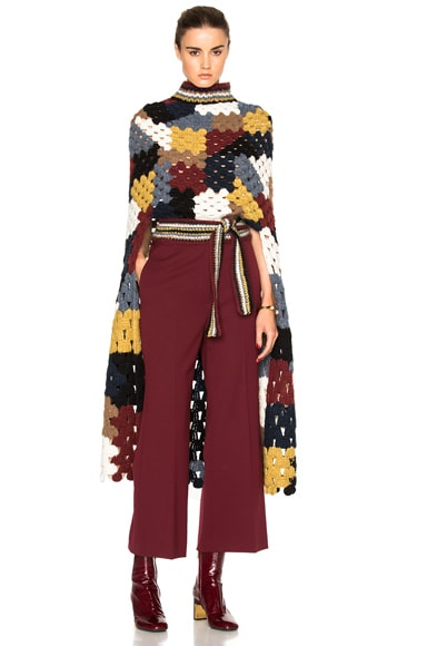 Rosetta Getty Patchwork Crochet Poncho in Multi