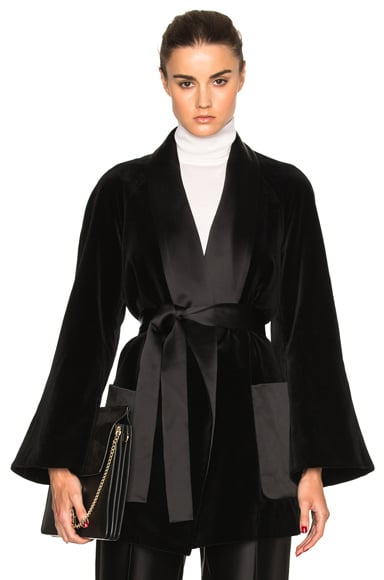 Rosetta Getty Shawl Robe Jacket in Black
