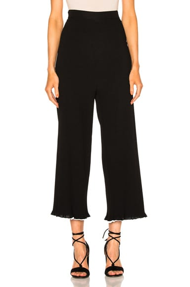Rosetta Getty Viscose Ribbed Cropped Pants in Black & White
