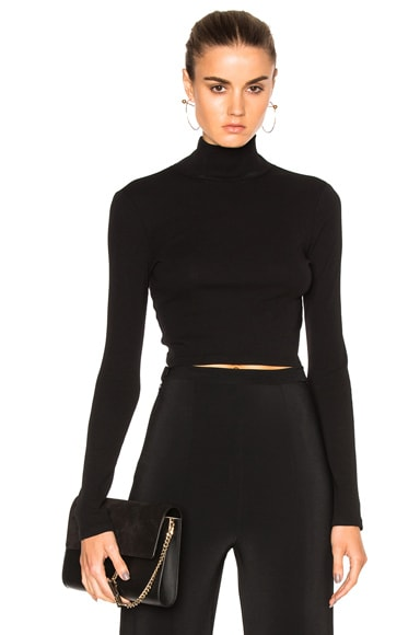 Cropped Long Sleeve Turtleneck T-Shirt