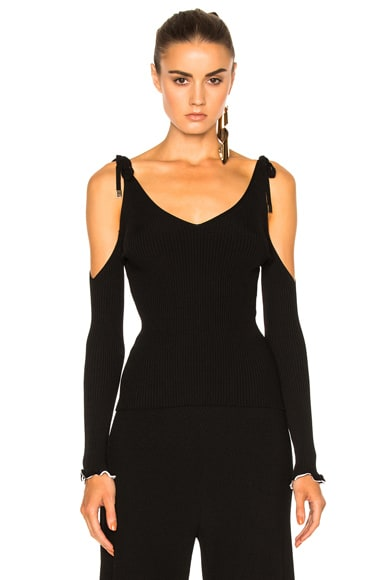 Rosetta Getty Viscose Ribbed Off The Shoulder Top in Black & White