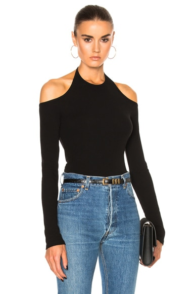 Cotton Rib Jersey Off Shoulder Tee