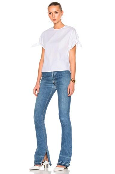 Cotton Poplin Wrap Sleeve Shirt