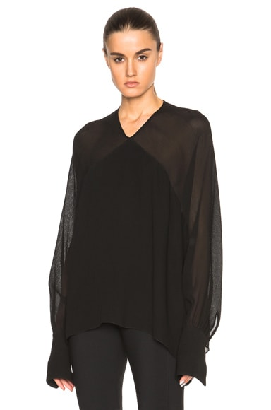 Rosetta Getty Crepon Georgette Paneled Blouse in Black