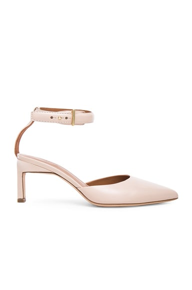 Rosetta Getty Leather Pointed Mid Heels in Blush