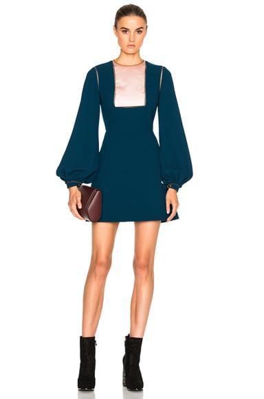 Roksanda Jacoma Bonded Crepe Dress in Blush & Petrol