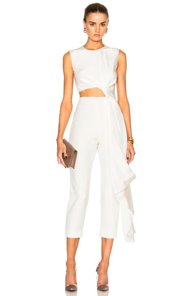 Roksanda Bridal Silk & Bonded Crepe Jumpsuit in Ivory