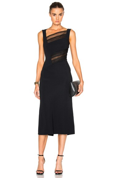 Roland Mouret Clairvale Viscose & Layered Lace Dress in Black