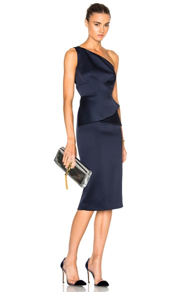 Roland Mouret Double Faced Satin Dress in Navy