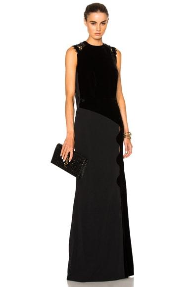 Roland Mouret Malroy Velvet & Crochet Lace Gown in Black