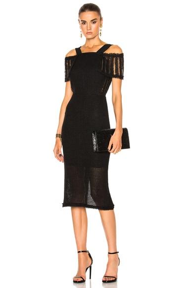 Roland Mouret Sinclair Linen Mesh Dress in Black