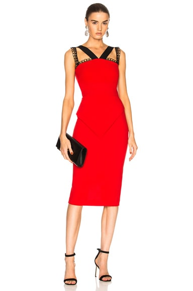 Malton Double Wool Crepe & Embroidered Lace Trim Dress