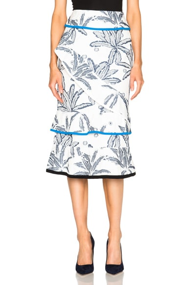 Roland Mouret Vivian Palm Fils Coupe Skirt in Navy, White & Bright Blue