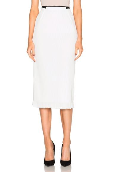 Roland Mouret Exton Rippled Chiffon & Stretch Viscose Skirt in White