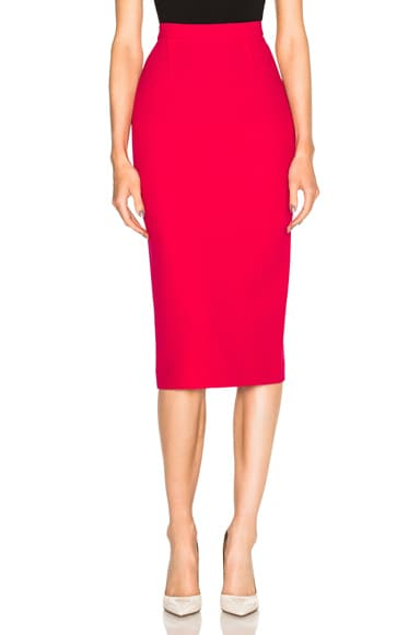 Roland Mouret Arreton Double Wool Crepe Skirt in Raspberry