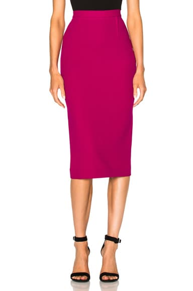 Roland Mouret Arreton Stretch Viscose Skirt in Orchid Pink