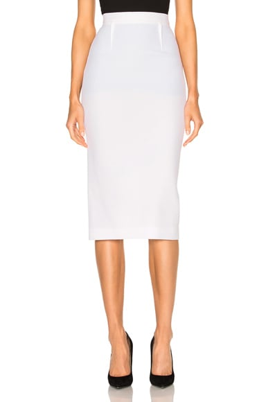 Roland Mouret Arreton Double Wool Crepe Skirt in White