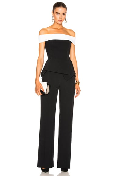 Roland Mouret Danielson Stretch Crepe Jumpsuit in Black & White