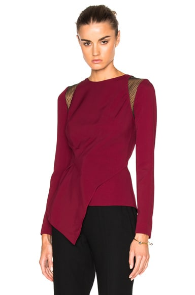Roland Mouret Ebner Crepe & Layered Lace Top in Cherry Red/Black