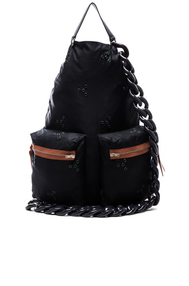 Raf Simons Backpack with Chain in Dark Navy