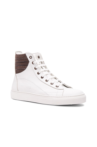 Raf Simons Leather Lace Up Eyelets Sneakers in White