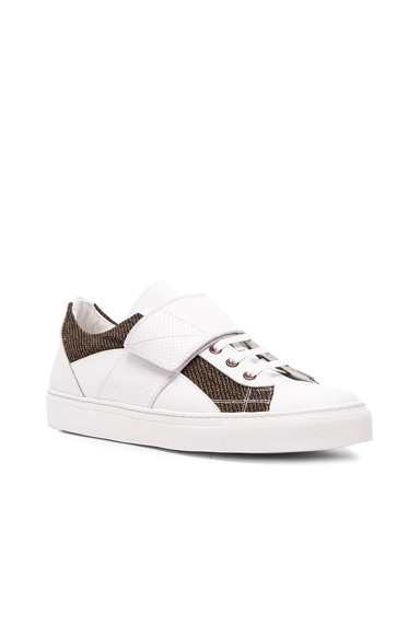 Raf Simons Leather Low Top Sneakers in White
