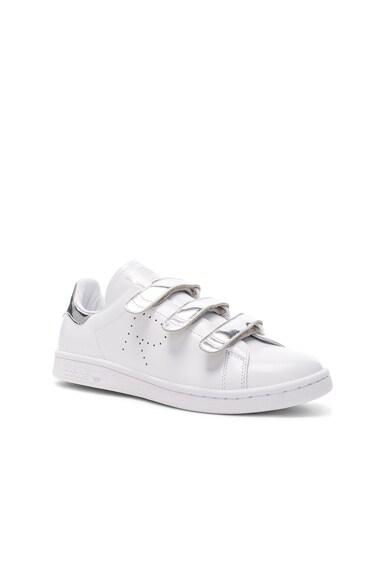 Raf Simons x Adidas Leather Stan Smith Sneakers White & Silver Metallic