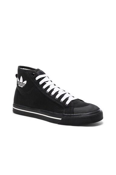 Raf Simons x Adidas Canvas Matrix Spirit High Sneakers in Black & White