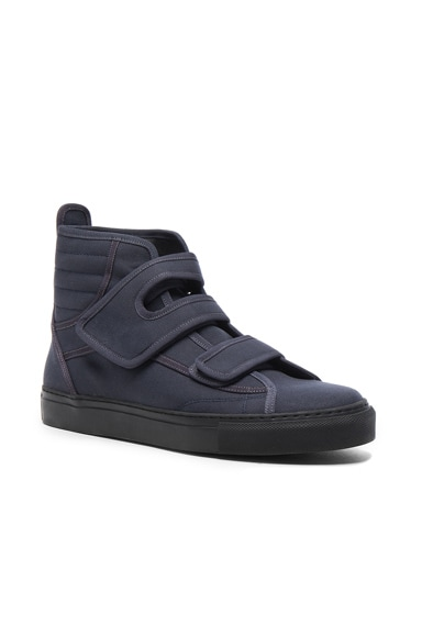 Raf Simons High Top Velcro Sneakers in Grey