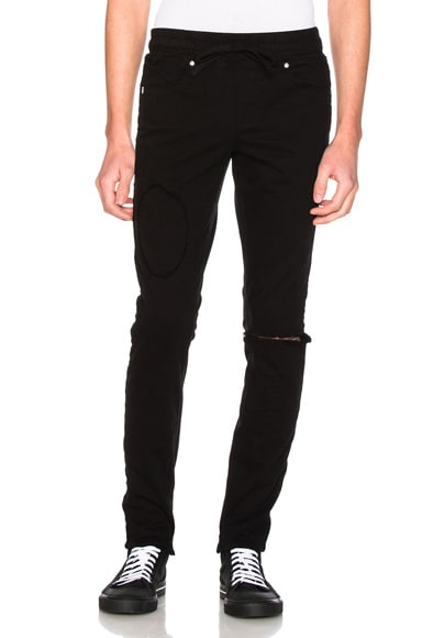 RtA Elastic Waist Jeans in Black Patch