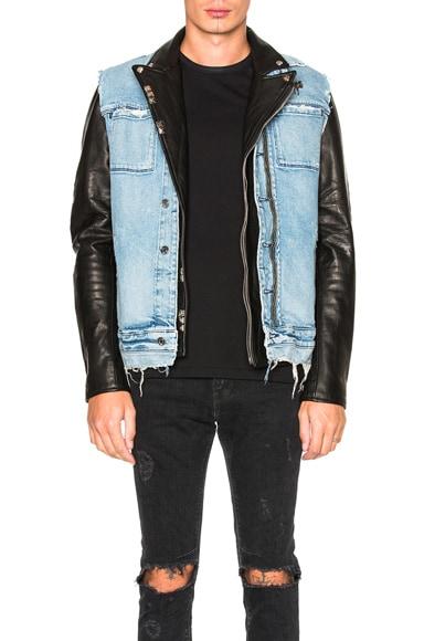RtA Leather & Denim Detach Jacket in Black & Light Blue