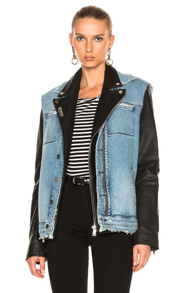 RtA Leather & Denim Detach Jacket in Black & Light Blue