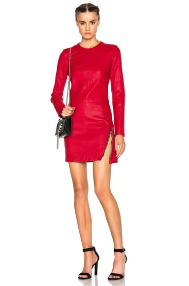 RtA Yves Leather Dress in Lipstick