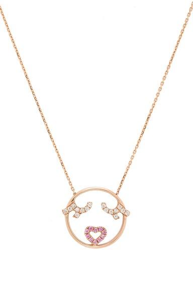 Ruifier 9 Karat Flutter Eyes Necklace in Rose Gold