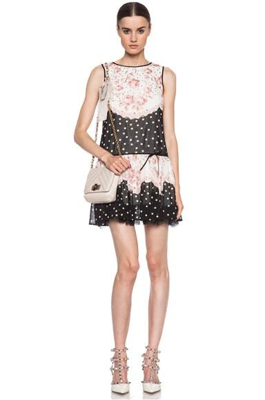 Roses & Polka Dot Print Silk-Blend Dress